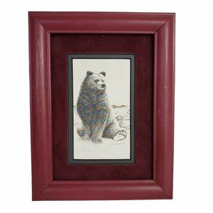 Freda Ballard Signed Alaska Artist Matted Framed Print Sitting Bear Suede